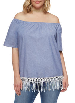 Plus Size Chambray Off the Shoulder Peasant Top - 0803074014867