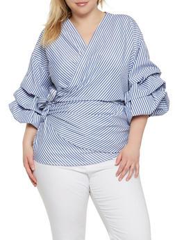 Plus Size Striped Wrap Top - 0803074280369