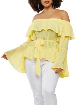 Plus Size Bell Sleeve Off the Shoulder Top - 0803074280480