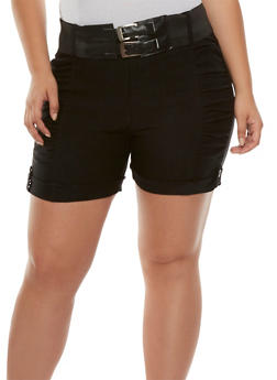 Plus Size Ruched Shorts with Removable Belt - 0860038347260