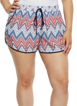 Plus Size Printed Soft Knit Shorts - PURPLE - 0860051060082