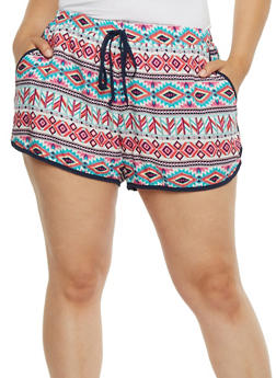 Plus Size Printed Soft Knit Shorts - PINK - 0860051060082