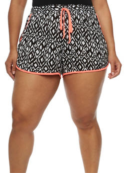 Plus Size Printed Soft Knit Shorts - 0860051060082
