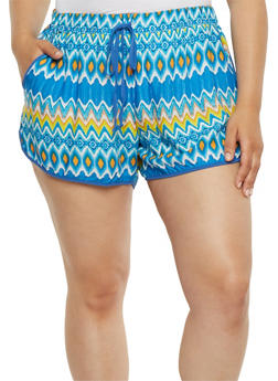 Plus Size Printed Soft Knit Shorts - BLUE - 0860051060082