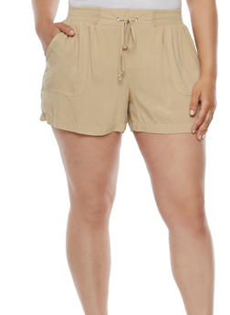 Tie Front Soft Knit Shorts - 0860051060478