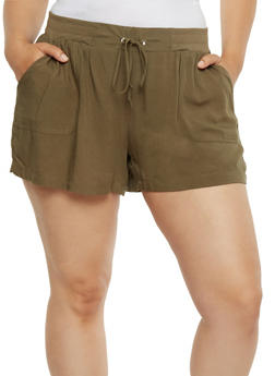 Tie Front Soft Knit Shorts - OLIVE - 0860051060478