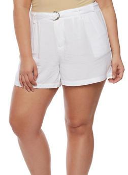Plus Size Shorts with Adjustable Belt - WHITE - 0860051060485