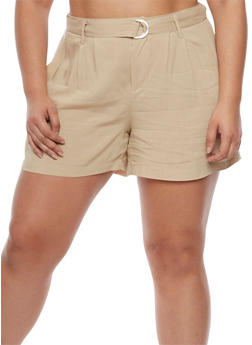 Plus Size Shorts with Adjustable Belt - 0860051060485