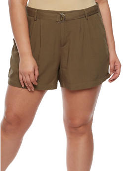 Plus Size Shorts with Adjustable Belt - 0860051060485