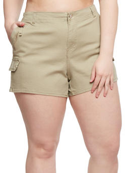 Plus Size Twill Shorts with Zip Trim - 0860051061596