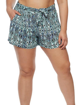 Plus Size Printed Tie Front Shorts - MINT - 0860051065143
