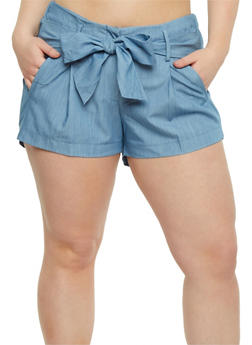 Plus Size Pintuck Shorts with Tie Waist - 0860056570321