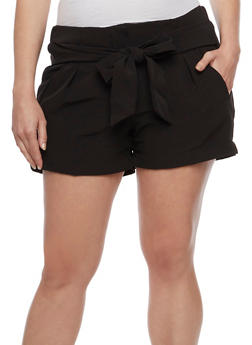 Plus Size Belted Front Pintuck Shorts - 0860056573212