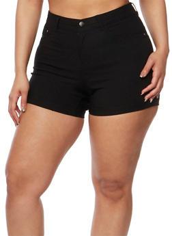 Plus Size Soft Knit  Push Up Shorts - 0860056576991
