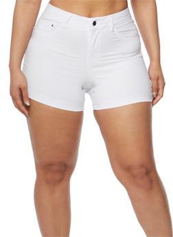 Plus Size Soft Knit  Push Up Shorts - WHITE - 0860056576991