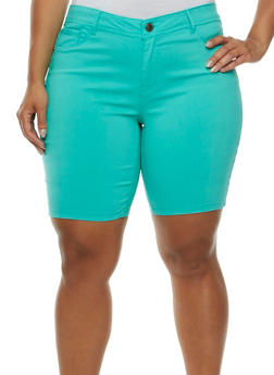 Plus Size Stretch Bermuda Shorts with Two Pockets - 0860060587108