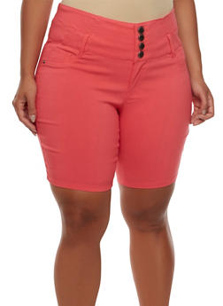 Plus Size High-Waisted Bermuda Shorts with Four Buttons - 0860060587109