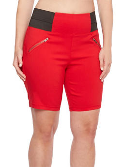 Plus Size Shorts with Front Zip Accents and Elastic Waistband - 0860060587110
