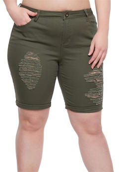 Plus Size Solid Distressed Roll Cuff Shorts - OLIVE - 0860061656868