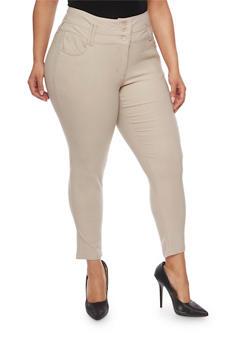 Plus Size 3 Button Wide Waist Skinny Pants - 0865038342291