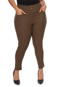 Plus Size 3 Button Wide Waist Skinny Pants - OLIVE - 0865038342291