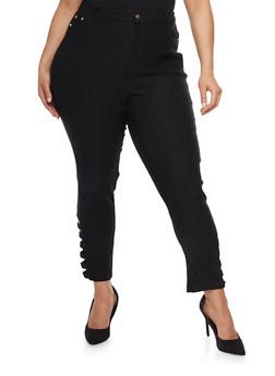 Plus Size Solid Casual Pants with Lattice Leg Cutouts - 0865038342292