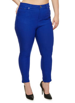 Plus Size Jeggings with Leg Zip Detail - 0865038342293