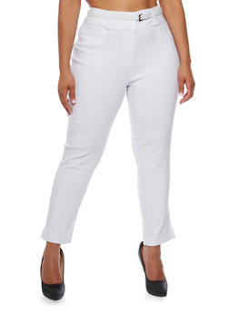 Plus Size Belted Stretch Knit Pants - WHITE - 0865038342294
