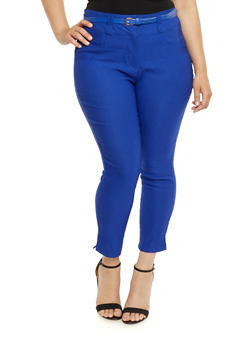 Plus Size Belted Stretch Knit Pants - 0865038342294