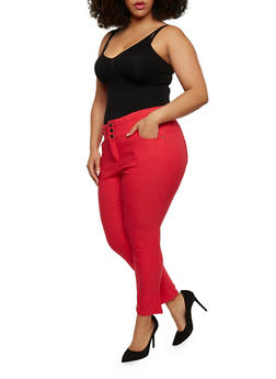 Plus Size High Waist Knit Pants - 0865038342295