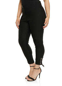 Plus Size Stretch Knit Pants with Lace Up Detail - BLACK - 0865038342296