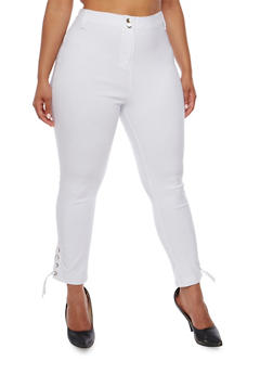Plus Size Stretch Knit Pants with Lace Up Detail - WHITE - 0865038342296