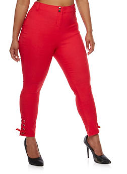 Plus Size Stretch Knit Pants with Lace Up Detail - CORAL - 0865038342296