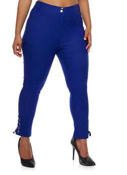 Plus Size Stretch Knit Pants with Lace Up Detail - ROYAL - 0865038342296