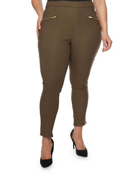 Plus Size Solid Skinny Pants with Side Leg Zip - OLIVE - 0865038342829