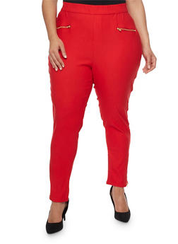 Plus Size Solid Skinny Pants with Side Leg Zip - 0865038342829