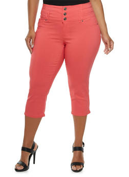 Plus Size Capri Pants with High Waist - 0865060585179