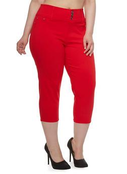 Plus Size Stretch Capri Pants - 0865060585182