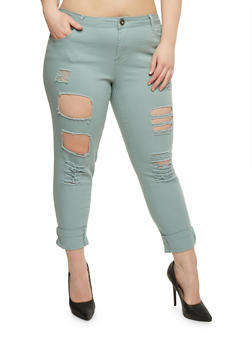 Plus Size Destroyed Roll Cuff Pants - 0865061651080