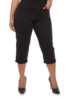 Plus Size Cuffed Capri Pants - 0865062701359