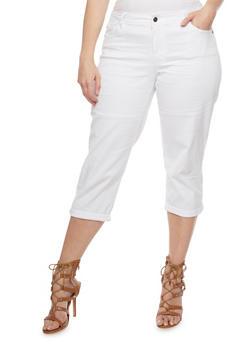 Plus Size Cuffed Capri Pants - WHITE - 0865062701359