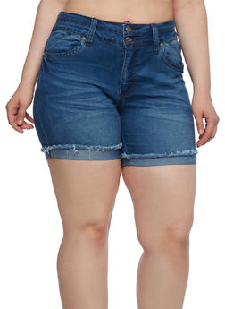 Plus Size Frayed Denim Shorts with Two Buttons - 0871041759607