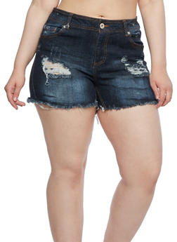 Plus Size Cut-Off Distressed Denim Shorts - 0871071315772