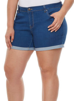 Plus Size Wax Jean Classic Shorts with Rolled Cuffs - 0871071610044