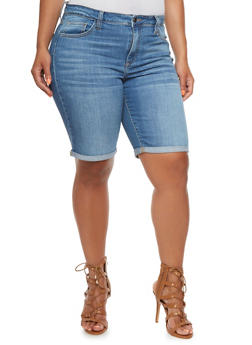 Plus Size Denim Shorts with Cuffed Hems - 0872063154735
