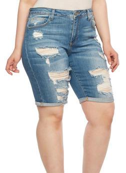 Plus Size Distressed Denim Bermuda Shorts - 0872063154847