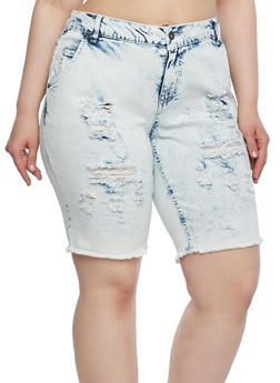 Plus Size Distressed Denim Shorts - 0872071315836