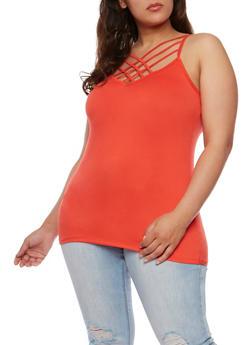 Plus Size Sleeveless Caged Cami - 0910001441355