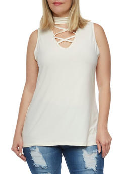 Plus Size Caged Choker Tank Top - 0910001443655