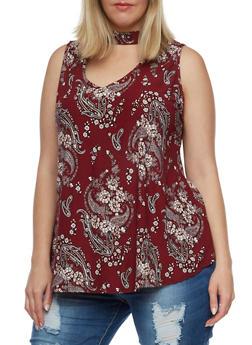 Plus Size Floral Paisley Choker Tank Top - 0910001443656